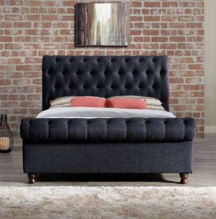 Castello Fabric Double Bed in Charcoal - 4ft6